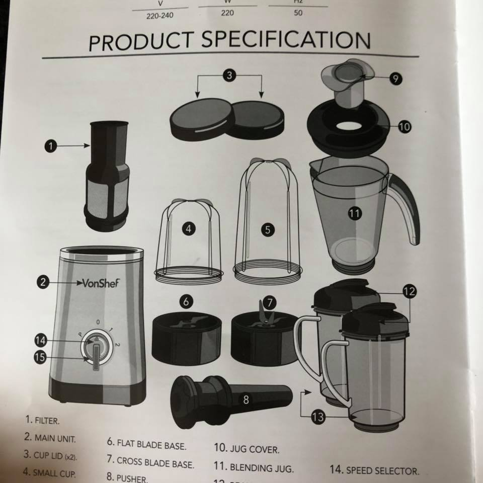 Review Vonshef 4 In 1 Blender Pass The Prosecco Please