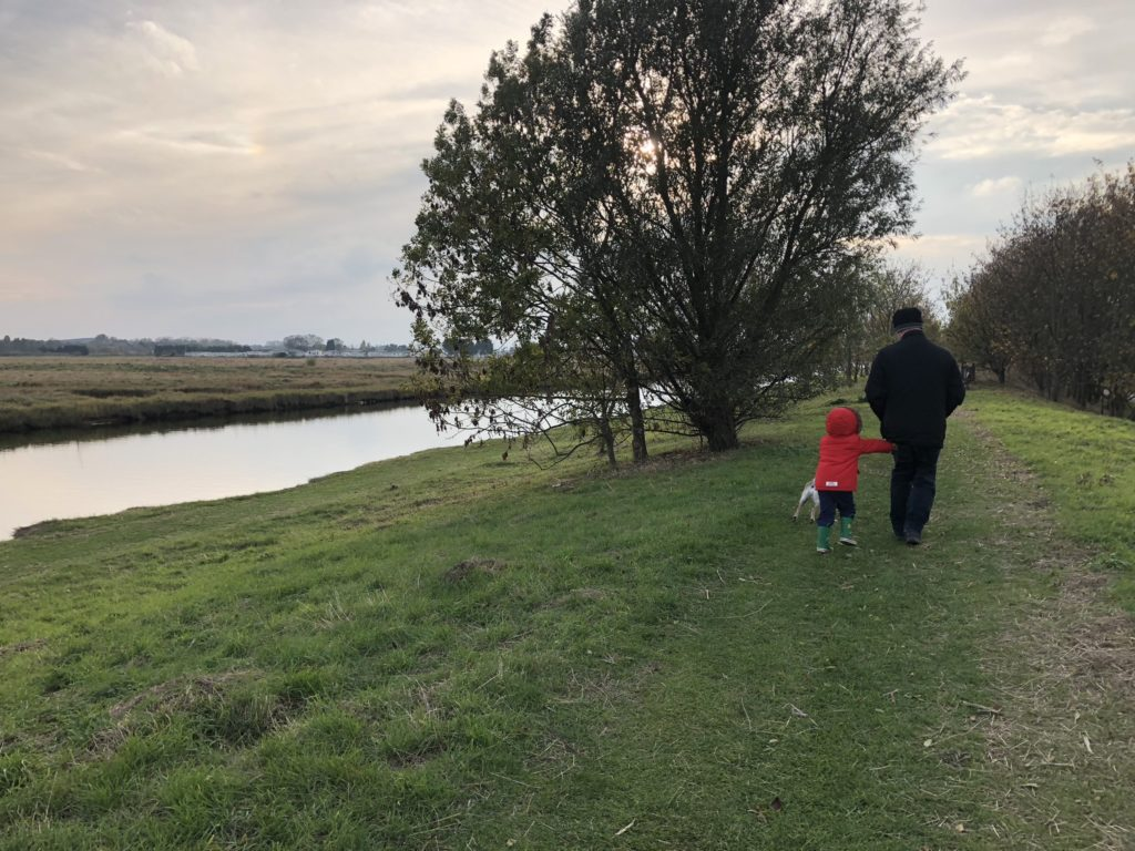 family walk countryside canal seaside family time lazy sunday