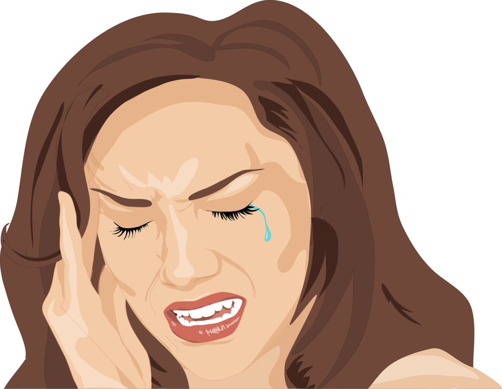 Crying cartoon lady holding head